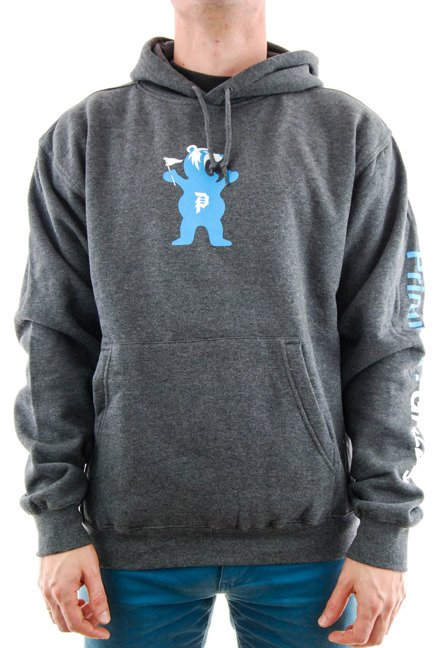 Bluza Primitive x Grizzly - Mascot Hood Fleece Charcoal Heather