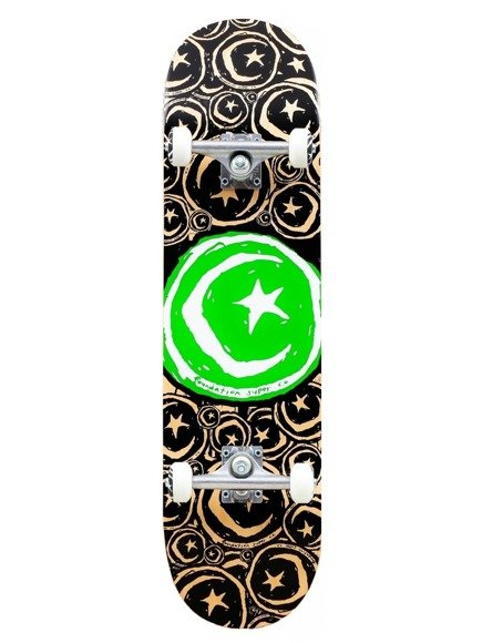 Deska kompletna Foundation - Star and Moon Stickered Green