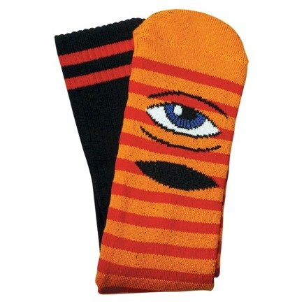 Skarpety Toy Machine -  Sect Eye Stripe Orange/Red Crew
