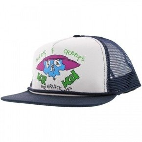 Czapka z daszkiem Krooked - Flowers N Creeps Trucker White / Navy Mesh