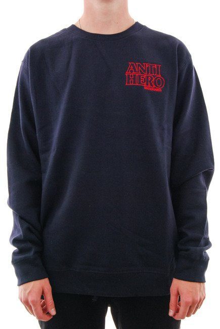 Bluza Antihero - Outline Hero Embroidery Pullover Crewneck Navy/Red