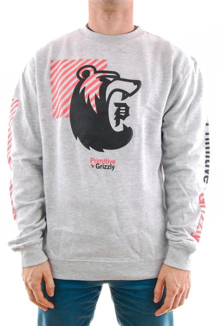Bluza Primitive x Grizzly - Bear Crew Fleece Grey Heather