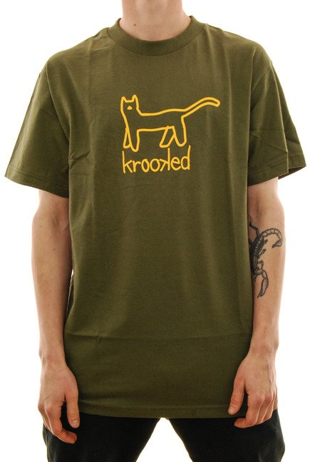 Koszulka Krooked - Big cat military/green